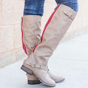 Contrast Zipper Riding Knee High Boots